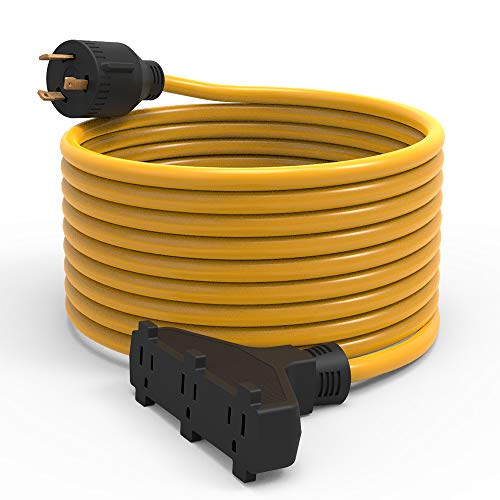 BougeRV Generator Extension Cord 25 Feet 30Amp 125Volt Generator Power 3750 Watts Extension Cord (Nema L5-30P to three - 300 Extension