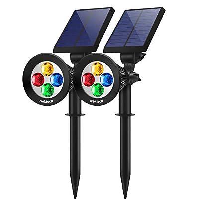 Nekteck Solar Lights Outdoor, 2-in-1 Solar Spotlights Powered 4 LED Adjustable Wall Light Landscape Lighting, Bright and Dark Sensing, Auto On/Off (2 Pack, Multi-Color)