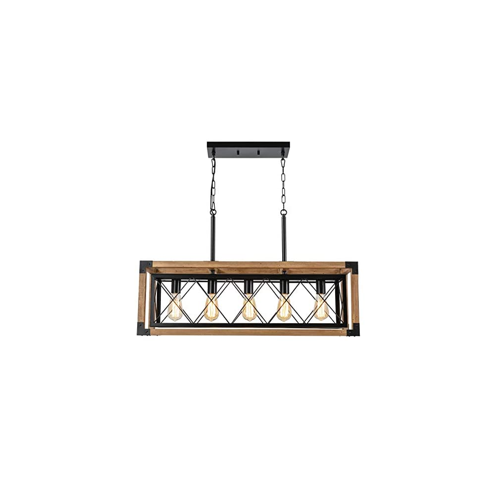 Trongee Farmhouse Kitchen Island Lighting Fixture, 5-Lights Country Wood Linear Chandelier Hanging Pendant Lamp for…