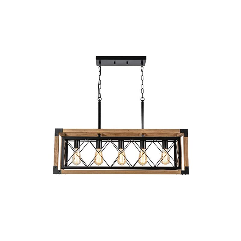 Trongee Kitchen Island Lighting Fixture,Farmhouse Chandelier for Dining Room, 5-Lights Country Wood Linear Chandelier…
