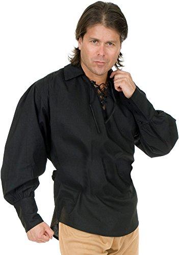 Barrel Man Costume (Unisex Buccaneer Pirate Shirt Adult Costume Accessory Black - Large)