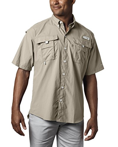 Columbia Men's PFG Bahama II Short Sleeve Shirt, Fossil, Large