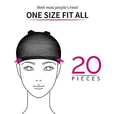 Teenitor 20 Pieces Wigs Cap, Black Stocking Caps, Stretchy Nylon Caps for Wig, Wig Stocking Caps for Women