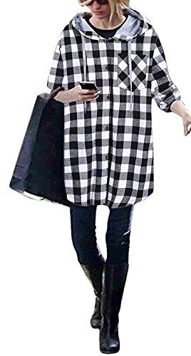 Suelto Manga Juvenil Elegantes Con Camisas Oversize Encapuchado A Capucha Basicas Otoño Negro Grandes Woman Cuadros Parejas Mujeres Tallas Casual Chaquetas Larga Bolsillos Sudaderas Cárdigans 8qaAA