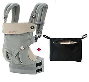 Ergobaby 360 Carrier with storage pocket Bundle for Ergo Baby (Gray)