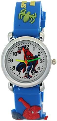 Timemall Blue Fashion Style White Dial Analogue Quartz Kids Watches