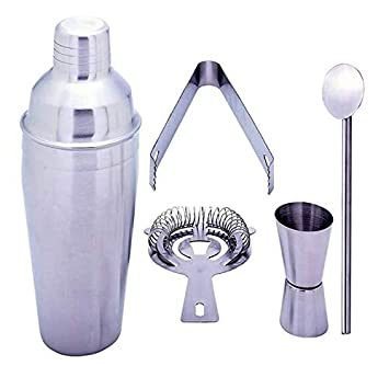 Gifts Infinity 5 Piece Stainless Steel Bar Set – 18.5 oz Martini Cocktail Shaker, Stirrer, Strainer, Double Jigger, and Ice Tongs. 6