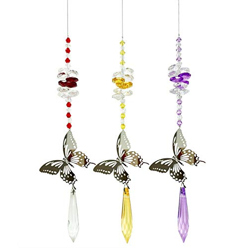 WEISIPU Crystals Ball Prisms Suncatchers - Set of 3 Butterfly Prism Pendants Hanging Suncatcher Crystals for Home, Office, Garden Decoration (Butterfly) …