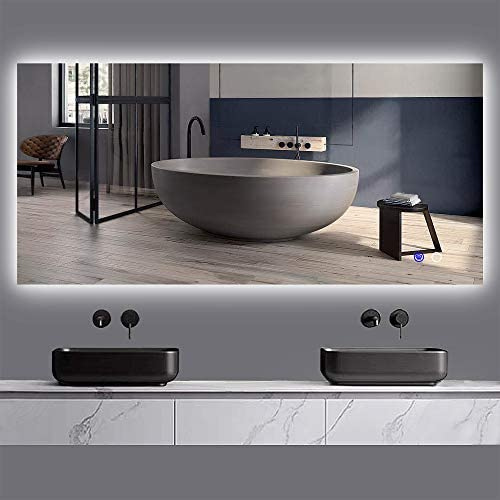 Keonjinn 60 x 28 LED Mirror Backlit Bathroom Vanity Mirror Dimmable Anti-Fog Wall Mounted Lighted Mirror Large Makeup Mirror with Lights Horizontal Vertical