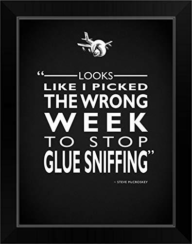 CANVAS ON DEMAND Airplane - Glue Sniffing Black Framed Art Print, 15