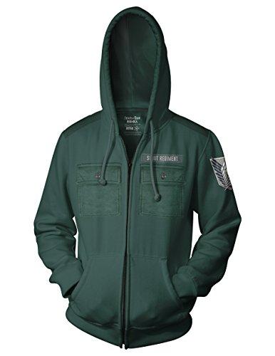 (Ripple Junction Attack on Titan Adult Unisex Scout Regiment Military Style Full Zip Fleece Hoodie XX-Large Dark Green)