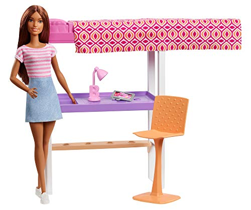 Barbie Doll and Furniture Set, Loft Bed with Transforming Bunk Beds and Desk Accessories, Gift Set for 3 to 7 Year Olds