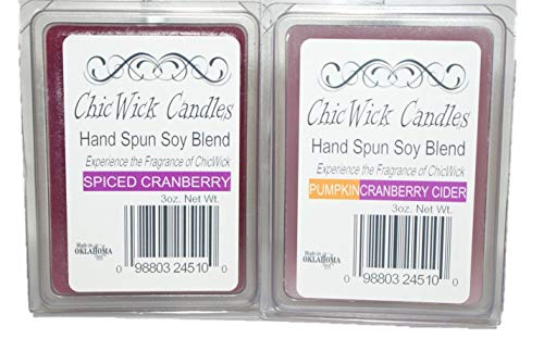 ChicWick Candles 2Pack Cranberry Duo Combo, Spiced Cranberry and Pumpkin Cranberry Cider, Wax Melts 6oz 12 Wax Cubes Wax Tarts Wax Chunks, 50 Plus Hours of Quality Fragrance