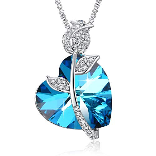 PLATO H Eternal Love Crystal Necklace for Women, Swarovski Element Necklace, Rose and Love Pendant Necklace, Fashion Jewelry Gift for Mom, Girlfriend, Wife or Daughter on Birthday,Mothers Day, Blue