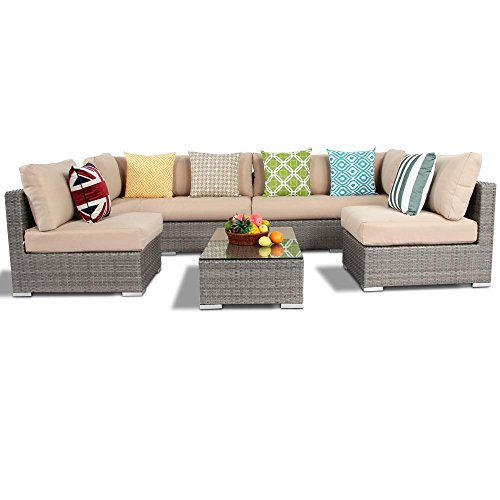 Island Gale 5 Piece Outdoor Patio Garden Furniture Wicker Rattan Sofa Set Sectional All Weather Conversation Sets, Multigray