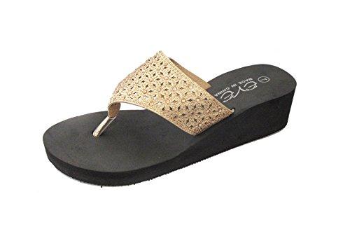 Eve Kvinna Mode Plattform Glitter Rhinestone Flip Flops Kil Sandaler Guld