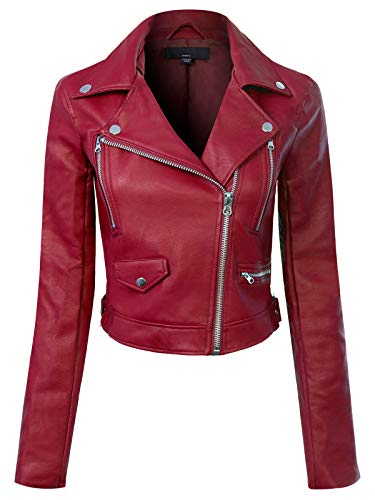 Instar Mode Women's Long Sleeve Zipper Closure Moto Biker Faux Leather Jacket Burgundy S (Womens Maroon Leather Jacket)