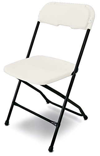 McCourt 21050 Series 5 Dining Height Stackable Folding Chair, Black Frame, Single, Bright White Seat/Back by McCourt