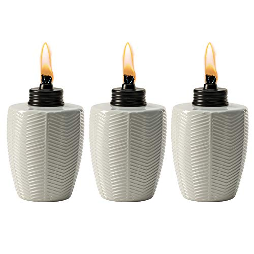 - TIKI Brand Herringbone White Glass Tabletop Torch (Set of 3)