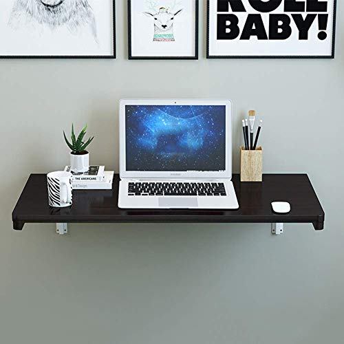 ZND Enkel idé vikbar väggmonterad bord massivt trä matbord bokhylla lärande skrivbord spara utrymme, 2 färger, 15 storlekar, b, 90 x 50 cm