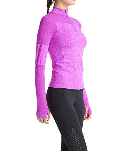 Women Long Sleeve Running Shirts with Thumb Holes Track Jackets Yoga Tops Performance Purple XL