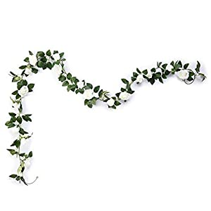 Aurdo Artificial Rose Vine Flowers with Green Leaves 7.5ft Fake Silk Rose Hanging Vine Flowers Garland Ivy Plants for Home Wedding Party Garden Wall Decoration (White) …