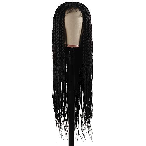 """Braided Wigs, Shining Star 30"""" Pure Handmade Micro Braided Straight Synthetic Hair Lace Front Wigs with Babay Hair for Women"""