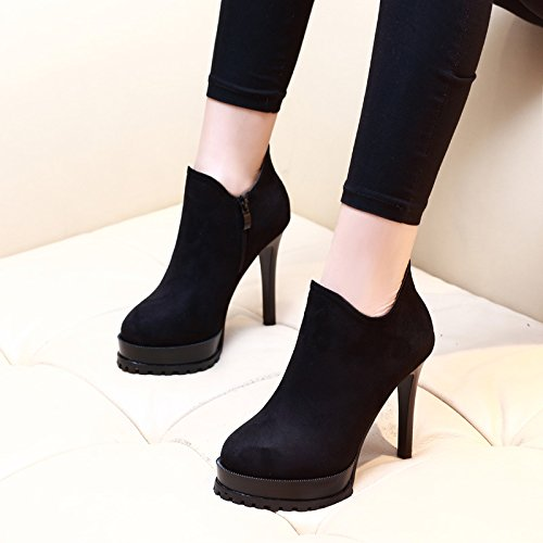 ZHZNVX Fashion Martin boots waterproof is fine with bare boots high-heeled shoes female boots Black FBI1a16JdM