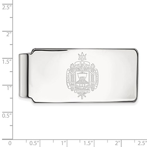 Navy Collegiate LogoArt Money Clip Licensed Sterling Silver Official Crest HqCxORXw