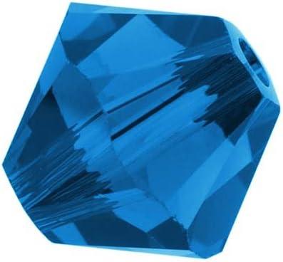 24 CAPRI BLUE SWAROVSKI CRYSTAL # 5301 BICONE BEADS 4MM