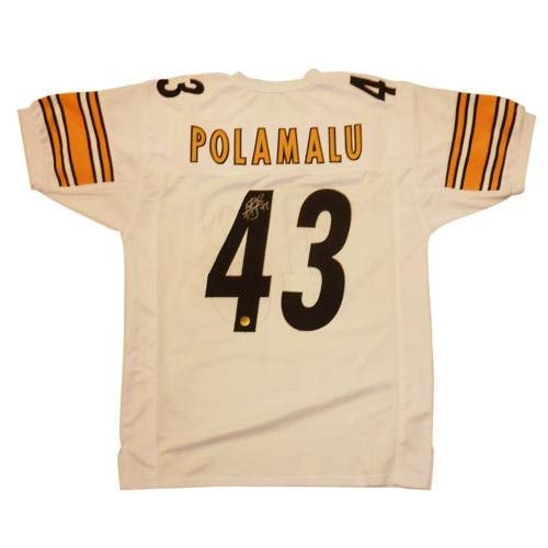 Troy Polamalu Autographed Signed Auto Pittsburgh Steelers White #43 Jersey Polamalu Holo - Certified Authentic ()