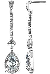 Silvertone Antique Pear Drop CZ Dangle Earrings