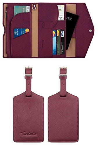 Travelambo Rfid Blocking Passport Holder Wallet & Travel Wallet Envelope 7 Colors (2 bonus luggage tag wine red)