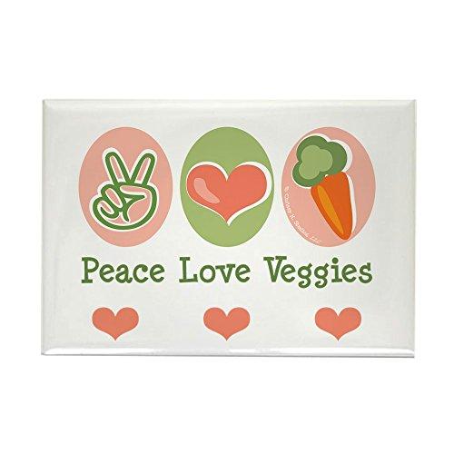 CafePress - Peace Love Veggies Vegan Rectangle Magnet - Rectangle Magnet, 2