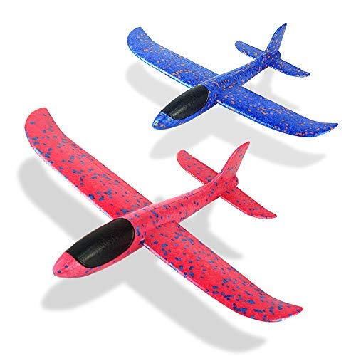 Foam Aircraft Model Hand Launch Glider Plane Soft Foam Airplane Throw Airplane Outdoor Sports Toys for Kids Gift 2 Pack