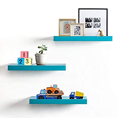 INART Floating Wall Shelves, Set of 3 (Blue) - DECORATIVE WALL SHELF: Decorative and functional for your home, office, or dorm room; use to display vases, small pictures and more MADE OF LIGHTWEIGHT MATERIALS: Made of lightweight and high quality MDF. These wall shelves are fits in any room WALL MOUNTED SHELF DIMENSION: 15 in W x 1.3 in H x 4.5 in D - wall-shelves, living-room-furniture, living-room - 414yYKdXUrL. SS400  -