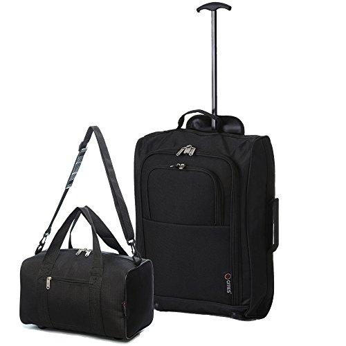 Ryanair Cabin 55x40x20 cm Approvato e seconda 35x20x20 bagaglio a mano Set - avanti entrambe le cose! (nero / nero)
