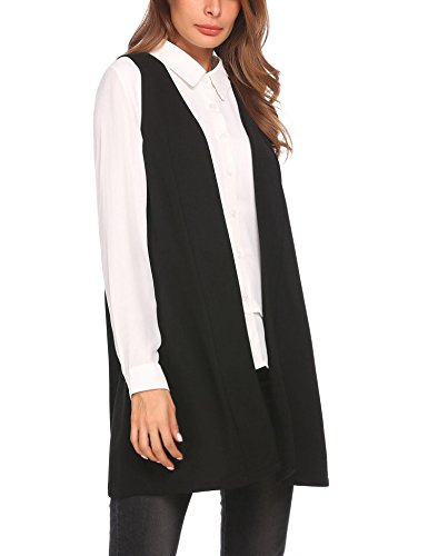 Lace Wool Cardigan (Opino Womens Slim Sleeveless Solid Color Open Front Cardigan Vest Top Black L)