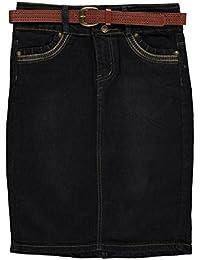 Big Girls'Zigzag Stitch Belted Denim Skirt