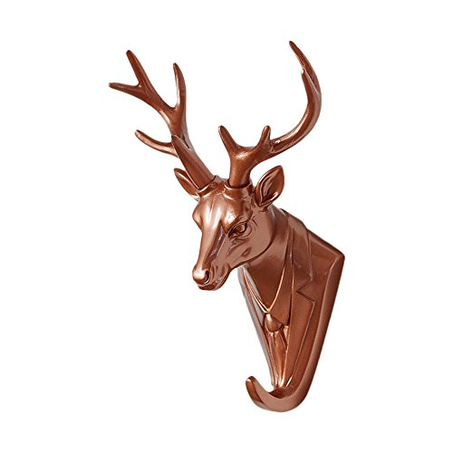 Zhi Jin 1Pc Resin Rose Gold Animals Head Wall Hook Hanger Adhesive Door Rack for House Office Decor Mr.Deer by Zhi Jin