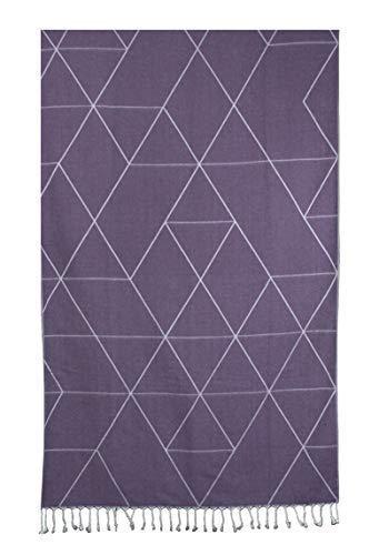 The Sultan's Coffer 100% Cotton Fouta Peshtemal Turkish Bath Beach Spa and Gym Towel - (Purple)