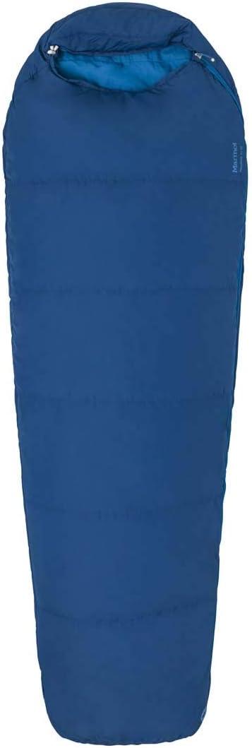 198 cm Extra Long Marmot Unisexs Nanowave 50 Semi Rec Mummy Ideal for Camping and Trekking Light Summer Sleeping Bag Estate Blue