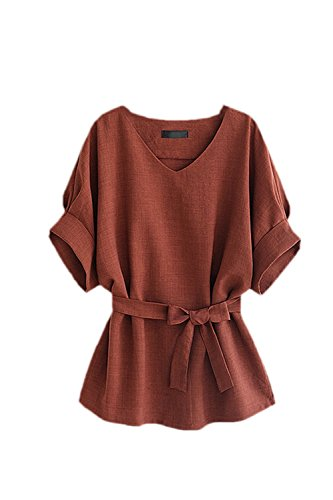 (Zojuyozio Women Summer Casual V Neck Batwing Half Sleeve Belted Hemp T Shirt Top Tee Coffee L)