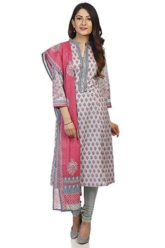 BIBA Women's Turquoise Cotton Salwar Kameez Dupatta Size - Cotton Salwar Suit