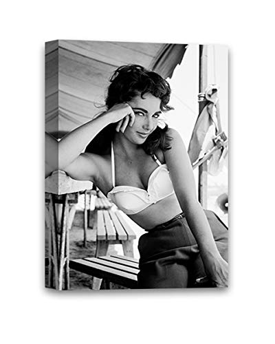 Funny Ugly Christmas Sweater Elizabeth Taylor Canvas Wall Art Taylor Photo Art Stylish Office Decor Sexy Elizabeth Taylor Monochrome Wall Art Elegance and Beauty 8