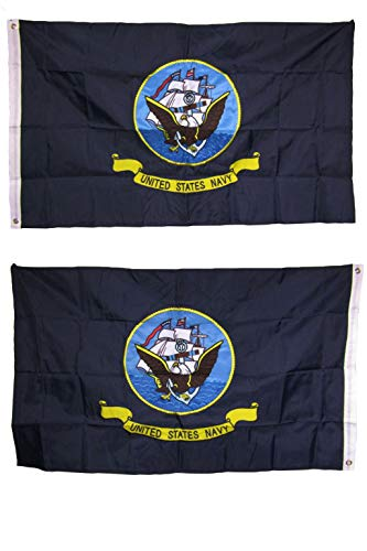 ALBATROS 2 ft x 3 ft Embroidered US Navy 2-Ply 300D Nylon Double Sided Flag 2x3 for Home and Parades, Official Party, All Weather Indoors Outdoors]()