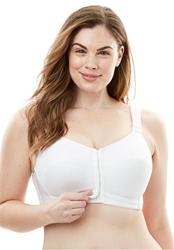 Posture Support Soft Cup Bra - Comfort Choice Women's Plus Size Lace Posture Bra White,50 B
