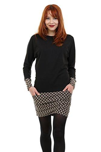 Rétro vestito con designo pipistrello di tasca abito e de invernali 3Elfen con donna minigonna maniche Marrone donna wZaqxP80