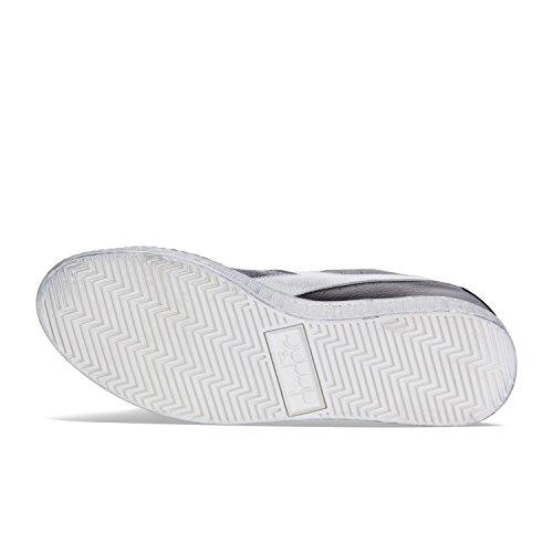 C0641 Waxed Diadora BLACK Adults' Game Tennis High WHITE Shoe L Unisex 8aqx8f