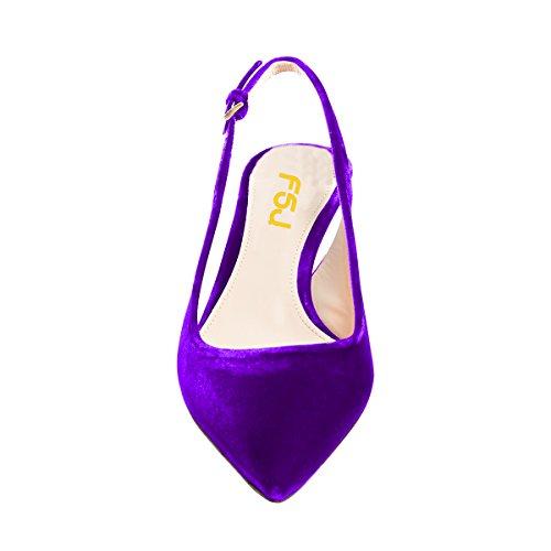 Fsj Donne Classy Slingback Pumps Velluto Gattino Mid Heels Punta A Punta Comfort Scarpe Da Sposa Taglia 4-15 Us Purple